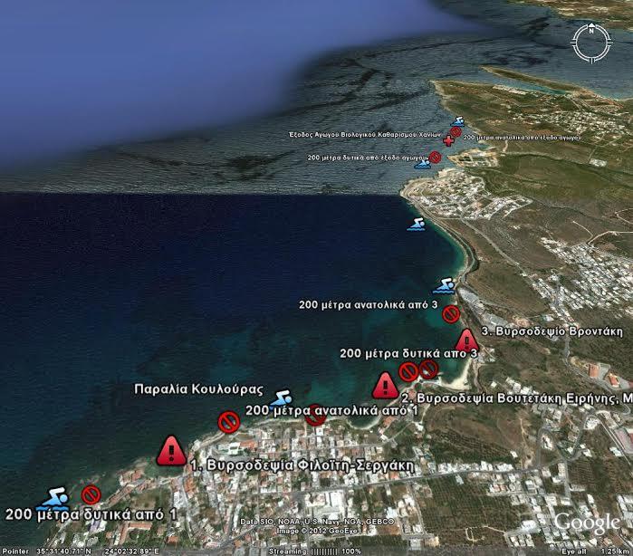 Που απαγορεύεται η κολύμβηση η κολύμβηση στο Νομό Χανίων