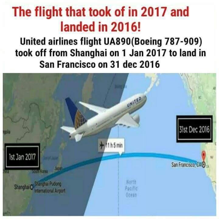 H πτήση που απογειώθηκε το 2017 και προσγειώθηκε το… 2016! (φωτό - βίντεο)