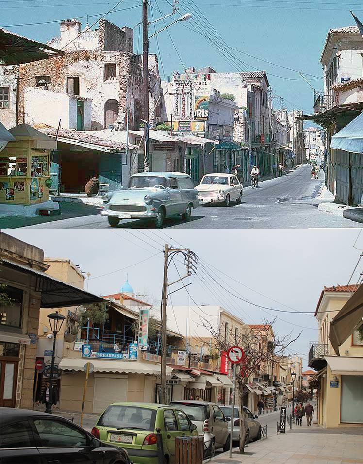 Φωτο απο τα ίδια σημεία στα Χανιά με διαφορά 50 ετών!