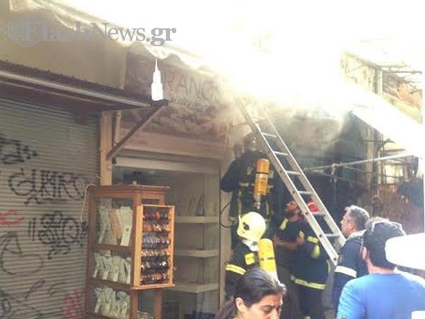 Φωτιά στα στιβανάδικα στο κέντρο των Χανίων (φωτο)
