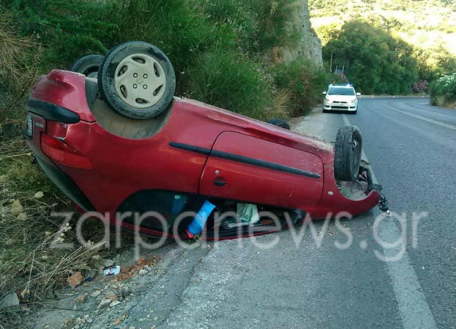 Χανιά: Τουμπάρισε αυτοκίνητο στην Εθνική οδό στο Καλάμι (Photos)