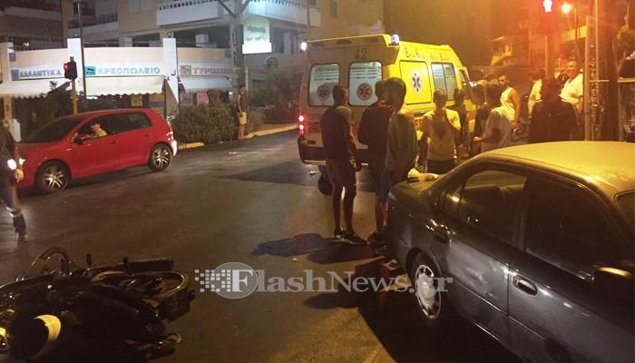 Τροχαίο με τραυματισμό οδηγού δικύκλου στον Κατσαμπά στα Χανιά (φωτο)