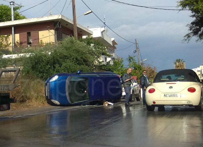 Χανιά: Τροχαίο στην Παπαναστασίου Τούμπαρε αυτοκίνητο (Photos)