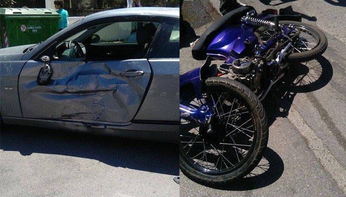 Τροχαίο ατύχημα σε σύγκρουση δικύκλου με αυτοκίνητο - Στο νοσοκομείο ο οδηγός του δικύκλου (φωτο)