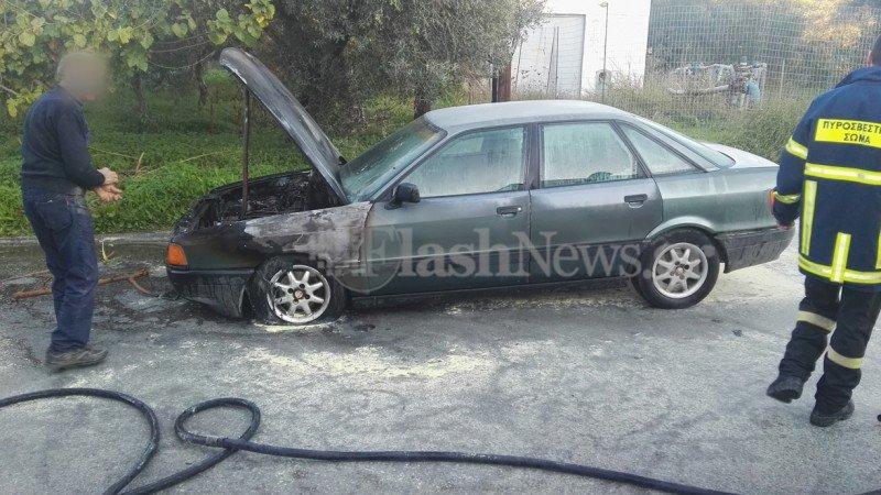 Αυτοκίνητο τυλίχθηκε στις φλόγες εν κινήσει στα Χανιά (φωτο)