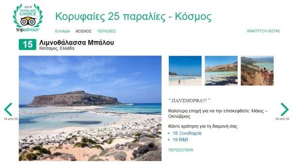 Δύο παραλίες των Χανίων στις καλύτερες του κόσμου για το 2019!