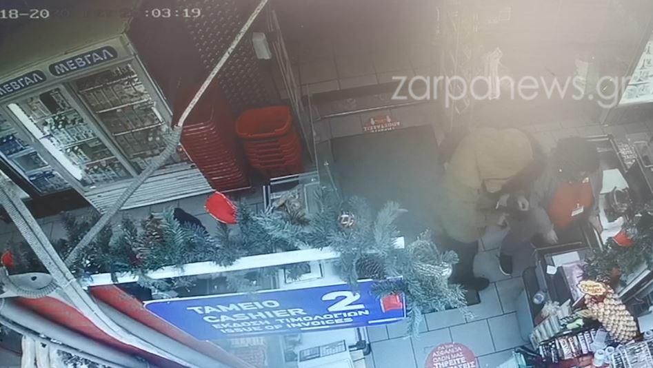 Χανιά: Καρέ-καρέ η ένοπλη ληστεία στο σουπερμάρκετ (video)
