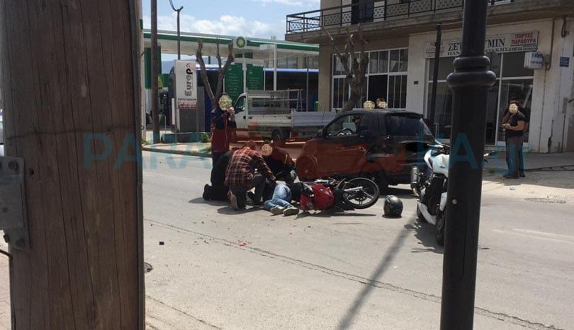 Ημέρα των τροχαίων στα Χανιά: Στο νοσοκομείο ένας νεαρός - Σύγκρουση ΙΧ με δίκυκλο (φωτο)
