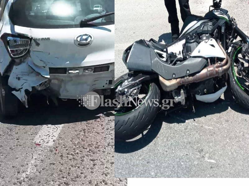 Χανιά: Σφοδρή σύγκρουση μοτοσικλέτας με αυτοκίνητο με τραυματία (φωτο)